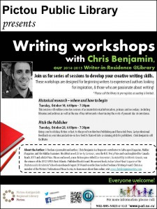 Pictou Library presents Writing Workshops with Chris Benjamin,Writer-in-Residence@PARL(Tues ev without guests) FINAL OUT